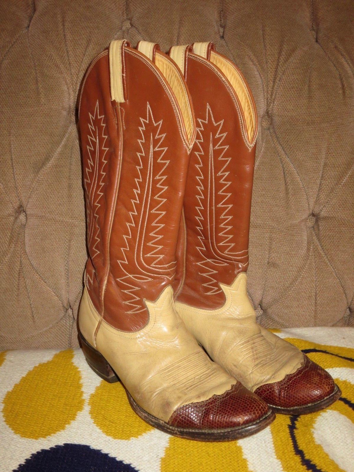 Tony Lama Cream & Brown Western Cowboy Boots 6214 Men's 7.5 D