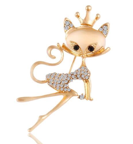 Elegante gatos broche pedrería oro señora prendedor