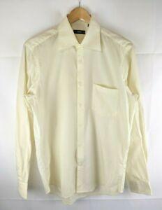 Hugo-BOSS-de-hombre-Formal-camisa-de-mangas-largas-Tamano-39-15-1-2-Luz-Amarilla-de-Algodon-Talle-M