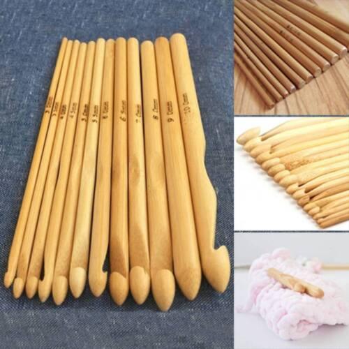 12 Pcs//Set DIY Crochet Hooks 3mm-10mm Bamboo Handle Crochet Knitting Tools Craft