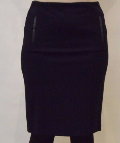 Laura Ashley Woman's Navy Ponte Pencil Skirt with Faux Leather Trim