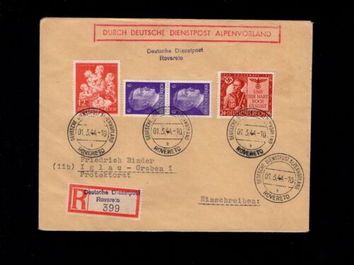 WWII Germany Scarce Registered Dienstpost Rovereto Boxed Alpenvorland 1944 7k