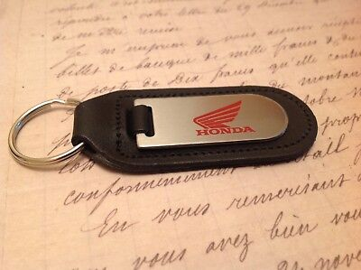 HONDA BLACK LEATHER KEY RING FOB ETCHED AND INFILLED