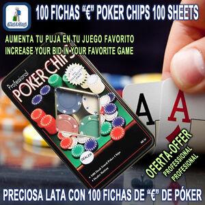 100 Fichas de € para PÓKER CASINO JUEGO Envase Lata Decorativa 100 Poker Chips €