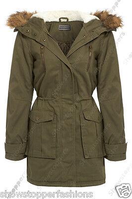 NEW Womens Faux Fur Hood PARKA Ladies JACKET COAT Padded Size 8 10 12 14 16
