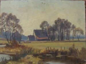 Oil-PAINTINGS-Worpswede-Farmhouse-North-German-J-Schmid-signing-Spring-Antique