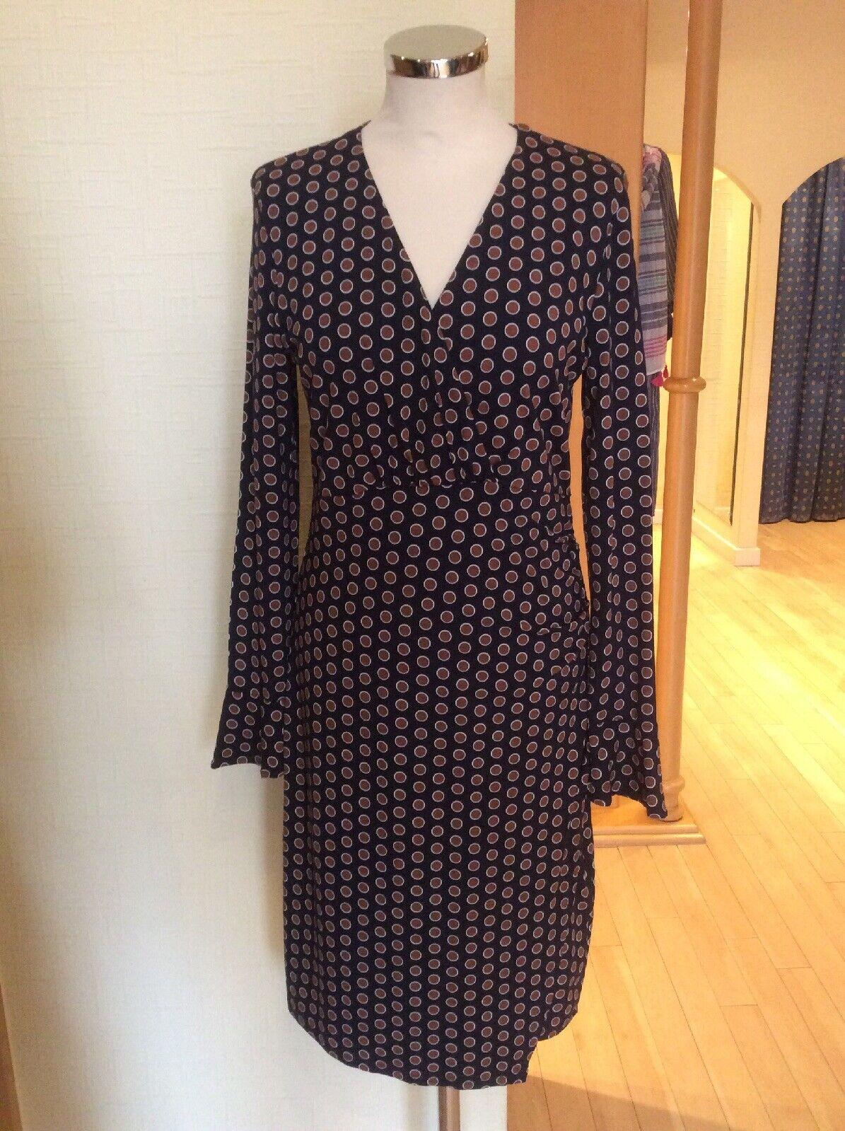 Olsen Dress Größe 18 BNWT Navy braun Spots   Now
