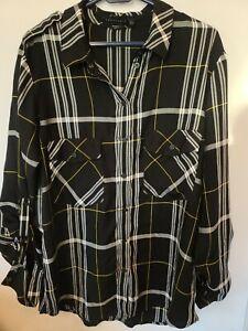 SANCTUARY White/Black Long Sleeve Button Front Plaid 'Boyfriend Shirt' Sz L