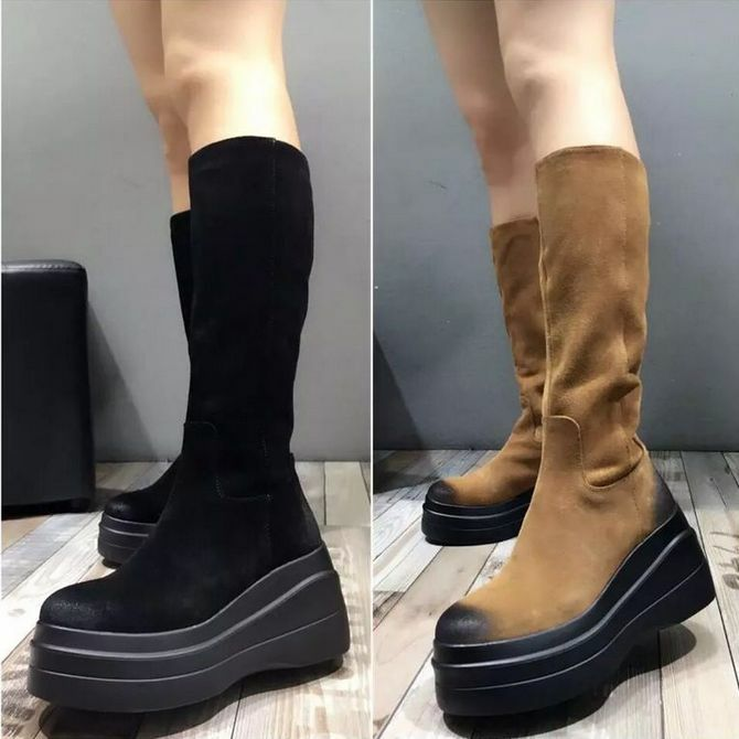 ladies creepers platform high wedge heel knee Vogue high boots knight shoes Vogue knee Size efd3dc