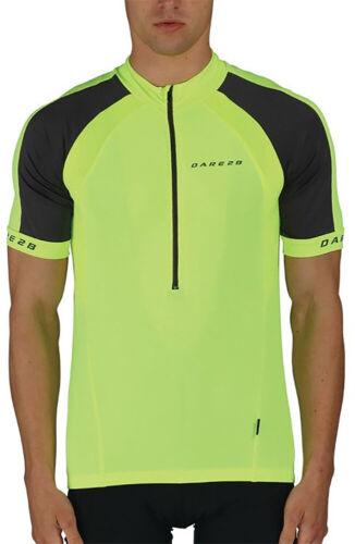 Dare2B Outstart Mens Cycling Jersey Yellow 3//4 Zip Short Sleeve Bike Cycle Top