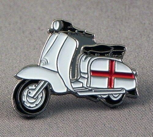 Metal Enamel Pin Badge Brooch Italian Scooter Lam Mod Biker England St Geor Flag