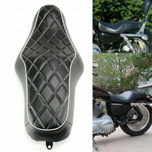 Driver Passenger Diamond Stitched Two 2-UP Seat For Harley XL 883 1200 2004-Up