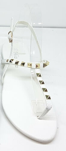 Womens Stud Strappy Ladies Ankle Strap Summer Slingback Sandals Black Pink White