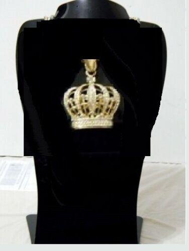 Crown King Royal Small Pendant Bike Bullet Chain Necklace Hip Hop