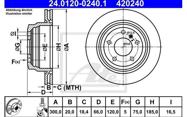 ATE Juego de 2 discos freno 300mm ventilado 24.0120-0240.1