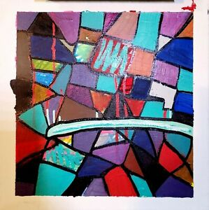 CORBELLIC ART ACRYLIC WILD ABSTRACT, mosaic PAINTING, OIL LINES, CONTEMPORARY NR
