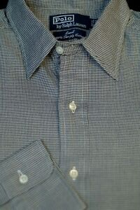 Polo-Ralph-Lauren-Men-039-s-Lowell-Gray-Black-Check-Cotton-Dress-Shirt-15-x-33