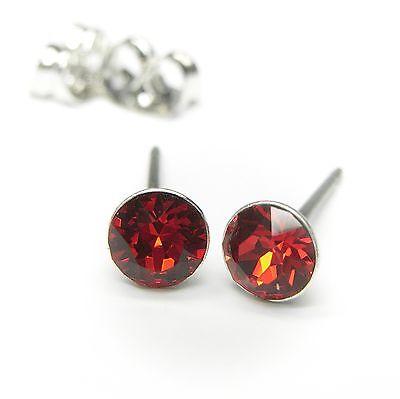 Neu Titan Ohrstecker 4mm Swarovski Steine Light Siam/rot Ohrringe Erfrischend Und Wohltuend FüR Die Augen