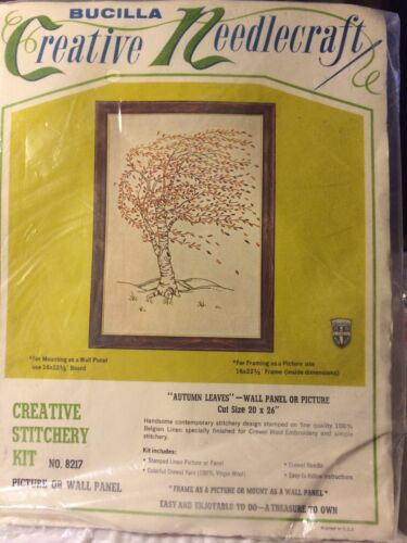 Bucilla Crewel Embroidery Autumn Leaves Kit # 3217 Vtg Wall Creative Stitchery