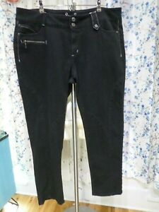 Bisou-Bisou-Size-18-20-Black-Skinny-Jeans-Stretchy-Unique-Denim