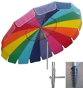 Image Is Loading Beach Umbrella Rainbow Sand Anchor Auger Pop Up