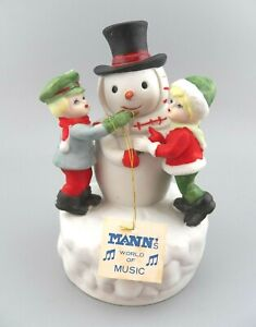 "VTG Mann's Music Box Snowman w/ Children Ceramic 1981 ""AS-IS Doesn't Play"" GUC"