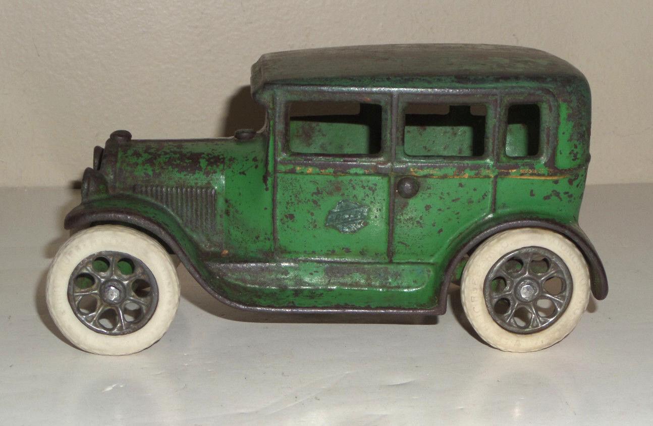 Arcade 1927 Ford Modelo A Tudor Sedan verde Pintura Original-Cast Iron Toy Car