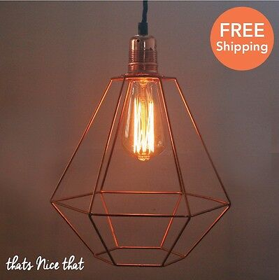Diamond Copper Lampshade Light Industrial Fitting Cage Bulb Wire Geometric Fun