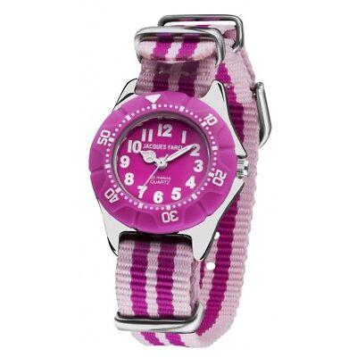 Jacques Farel Kinderarmbanduhr Stripes Mädchen pink KWD 118