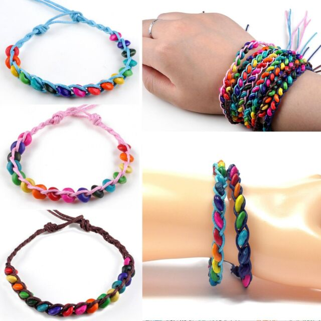 99845b1767af8 X2 Friendship Bracelets Beads Jewellery Handmade Cuff Bangles Boho Beach  Hippie