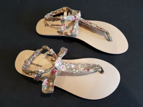 Post Toe Strappy 7 Flats Sandals Sage Graceland Print Floral Green Fabric Size A0wqx6S8