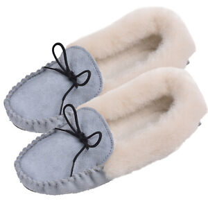 767129ae7ccb0 Details about Lambland Ladies UK Made Fluffy Wool Sheepskin Suede Moccasin  Slippers Pale Blue