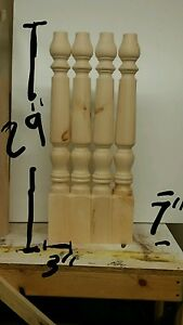 Image Is Loading Set Of Four Turned Table Island Legs Unfinished