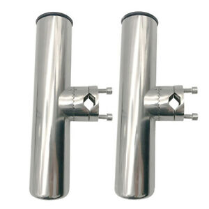 2X-Stainless-Steel-Clamp-On-Fishing-Rod-Holder-For-Rail-7-8-034-to-1-034-Amarine-made