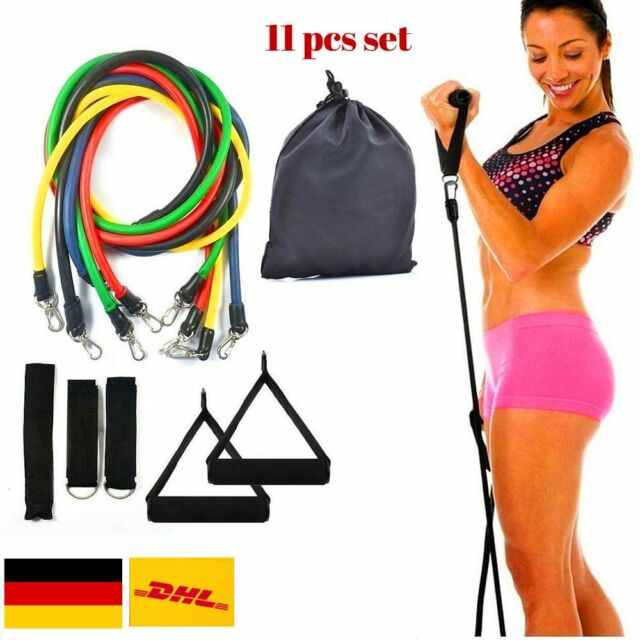 11tlg. Expander-Set Fitness Tube Gymnastikband Yoga Latex Band Fitnessbänder  LU