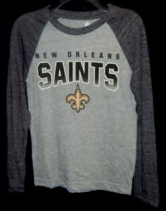 1fb5010e5 Youth Small 8 NFL Team Apparel Gray LS NEW ORLEANS SAINTS with Fleur ...