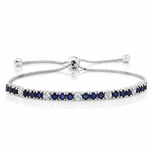 "Naturel Coussin SAPHIR BLEU Argent Sterling 925 Lien Chaîne Bracelet 7.5/"""