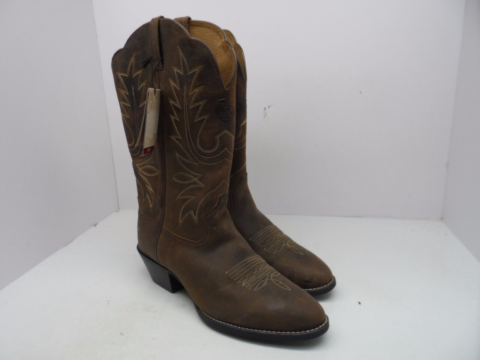 Ariat Men's Heritage R Toe Western Cowboy Boot Distressed Brown Size 9C