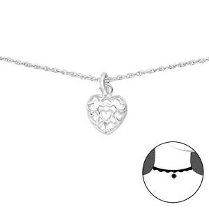 925-Sterling-Silver-Heart-Choker-Pendant-Necklace-38cm-15-inch