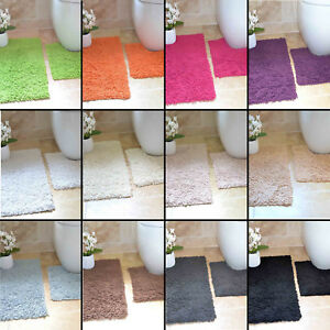 100-COTTON-TWIST-HEAVY-2-PIECE-BATH-MAT-SET-BROWN-CREAM-BLACK-GREY-BLUE-WHITE