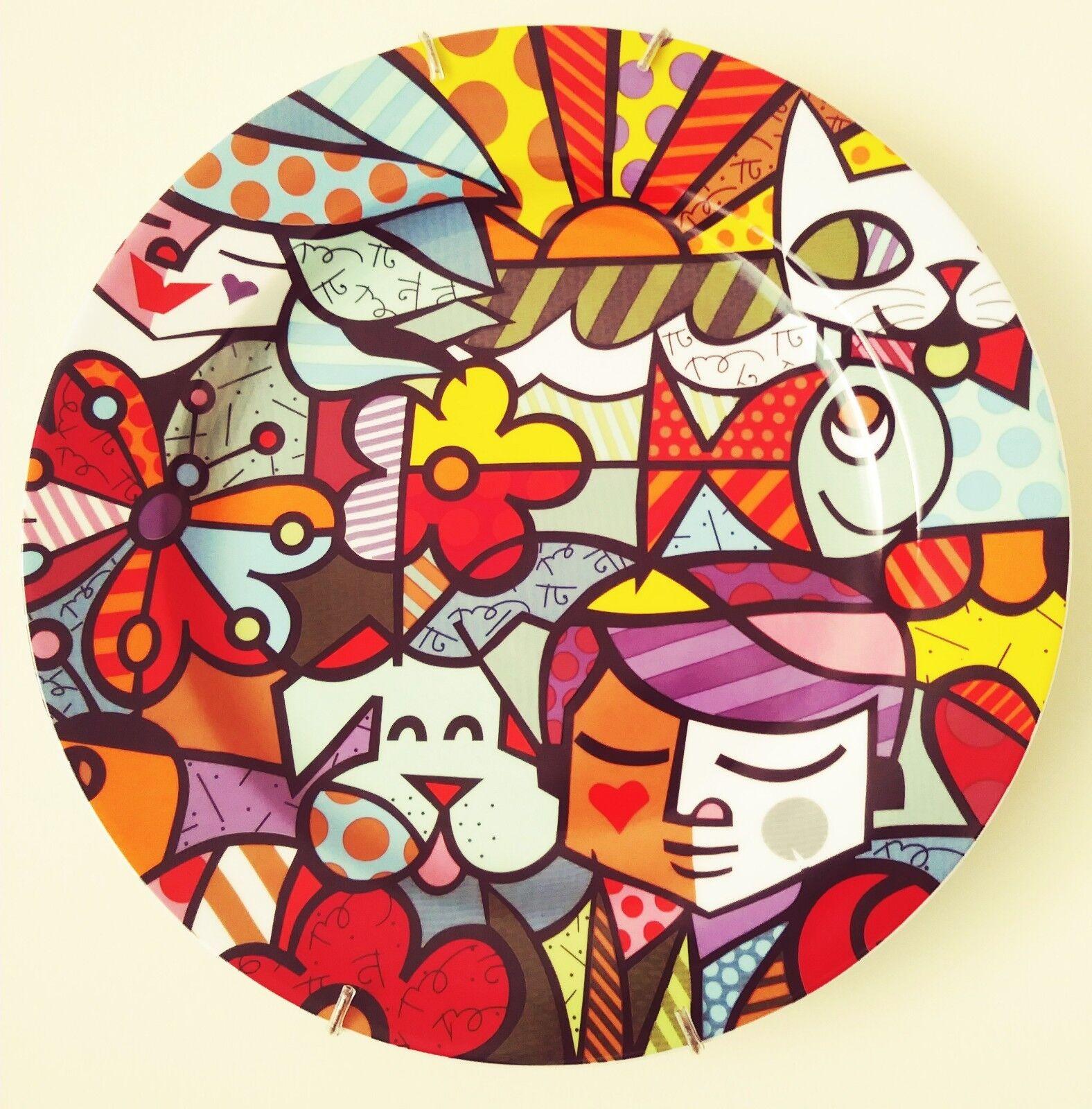 ROMERO BRITTO x Vista Alegre 'Garden' Porcelain Collector's Plate 12-5 8  NEW