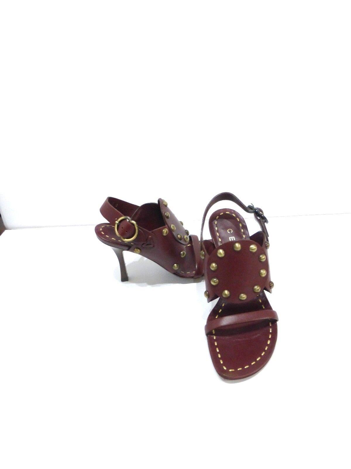 Celine braun Leather Sandals w Stud Detail Detail Detail sz 5 Euro 35 7e99cf