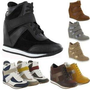 LADIES-WEDGE-TRAINERS-GIRLS-HIGH-ANKLE-HI-TOPS-CELEBRITY-STYLE-SHOES-BOOTS-SIZE