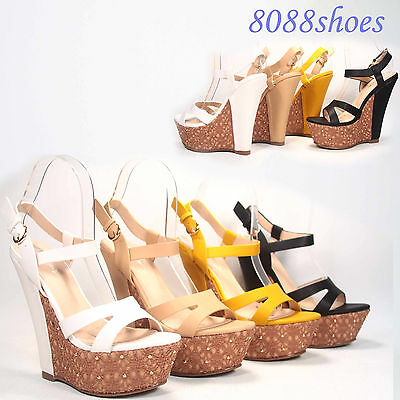 Women's Sexy  Buckle Open Toe Platform Wedge 5 Colors  Sandal Shoes NEW 5 -11
