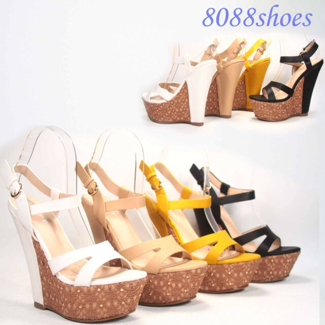 Women's Sexy  Buckle Open Toe Platform Wedge 5 Colors  Sandal Shoes NEW 5 -11