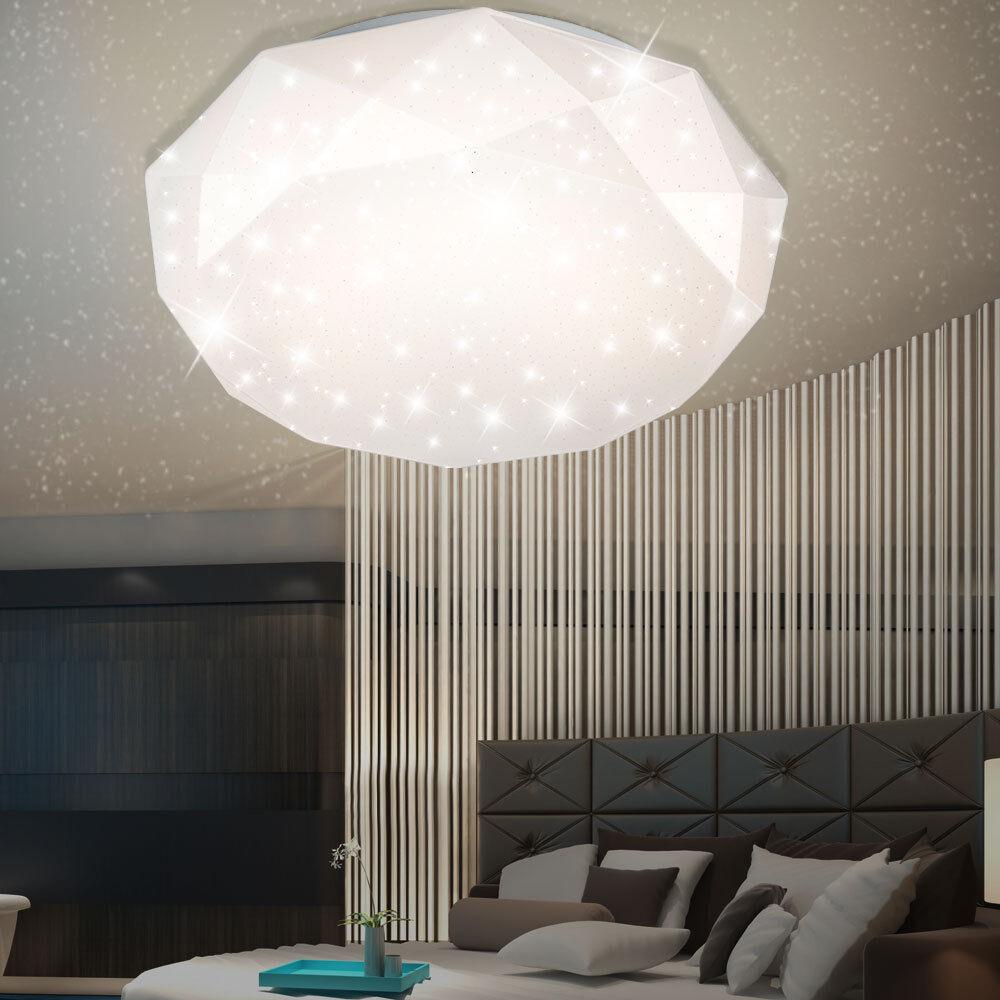 Plafonnier LED luxe lampe de salon émetteur effet étoiles diamant EEK A + noble