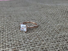 1.6 Ct Engagement Ring Princess Cut 14k Solid Rose Gold Bridal Jewelry