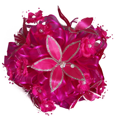 18912 Z Bridal Quinceanera Bridesmaid Throw Silk Flower Bouquets Fuchsia Color