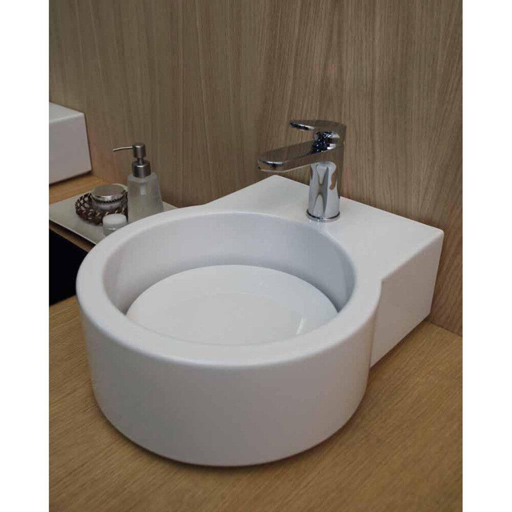 Lavandino Lavabo Lavamani serie Turn Appoggio in ceramica bianco - 62x44 cm