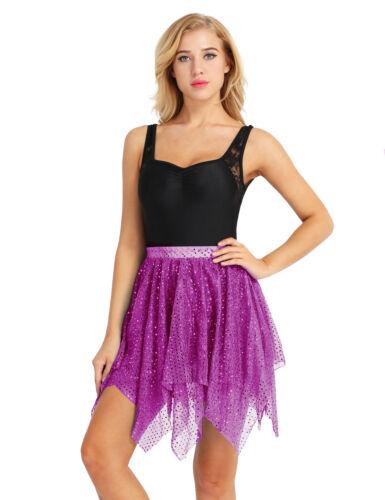 Womens Latin Tutu Skirt Adult Mesh Sequin Dress Ballroom Club Party Dancewear